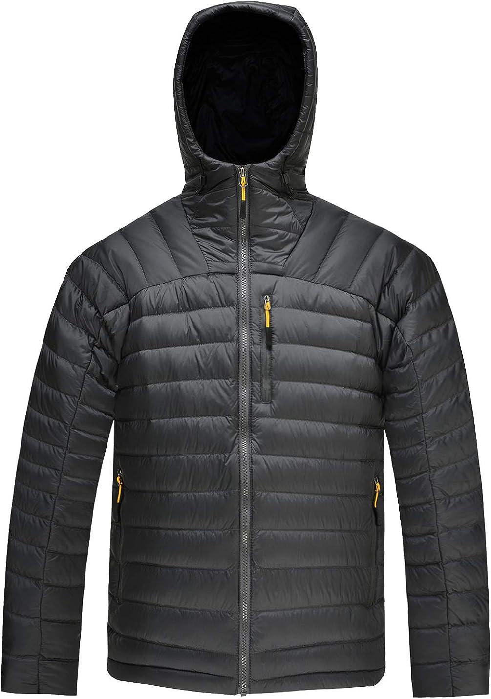 HARD LAND Men's Down Jacket Packable,Water Resistant 5 Pockets Hooded Puffer Jacket Lightweight