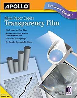 $29 » Apollo Transparency Film for Plain Paper Copier, Black on Clear Sheet, with Stripe, 100 Sheets/Pack (VPP201CE)