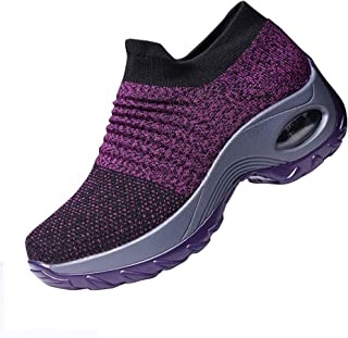 Ablanczoom Womens Walking Shoes Sock Sneakers Comfortable Mesh Wedges Platform Shoe Slip On Air Cushion Running Tennis Shoes