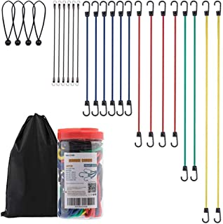 NoOne 24pcs Heavy Duty Bungee Cords with Hooks in Jar, 100% Latex Core Elastic Strong Bungee Cord Set with a Drawstring Organizer Bag