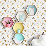 Amaonm Removable 15.8 x 98.4inch Lovely Gold Heart Wall Decals DIY Wallpaper Wall Stickers Murals Decor for Kids Babys Girls Bedroom Teens Nursery Living Room Door Desk Decoration (Heart)