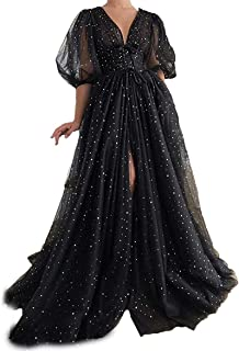 Sponsored Ad - LINGLINGDING Women Sparkle Starry Tulle A-line Prom Dresses 2021 Half Sleeves V-Neck Party Evening Gows LD0031