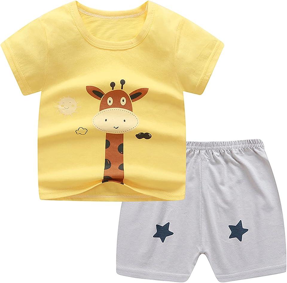Kinder Jungen Mädchen Shorts Set Kurzarm Cartoon Print T-Shirt + Einfarbige Shorts Outfit 2-teilige Sommer Freizeitkleidung