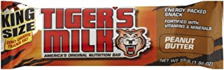 Tiger's Milk King Size Energy Bar with Protein, Peanut Butter, 1.94 oz (Pack of 12)