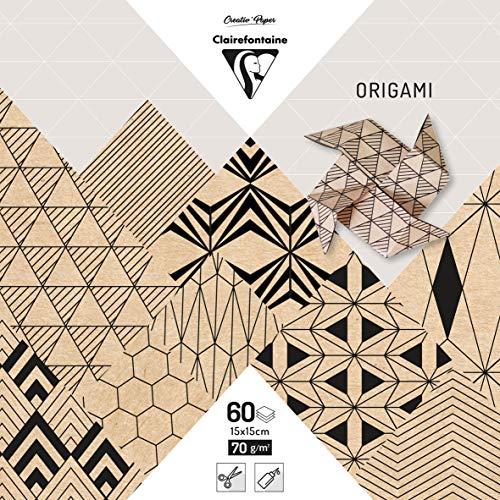 Clairefontaine 95350C Pack mit 60 Bögen Origamipapier (70 g, 15 x 15 cm, Krafty) 1 Pack