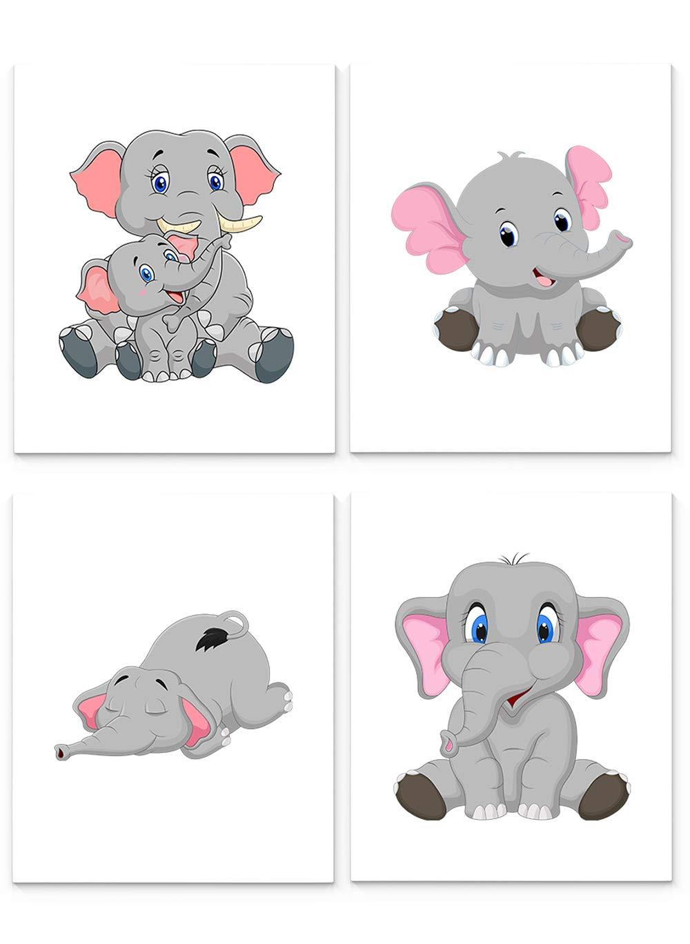 Elephant Nursery Decor Set of Four Print x10 Art New life Very popular Unframed inch 8