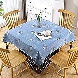 Senza marchio Mantel de lino en forma cuadrada y en diferentes tamaños – Mantel antiincrustante en color gris, forma cuadrada, 120 x 120 cm