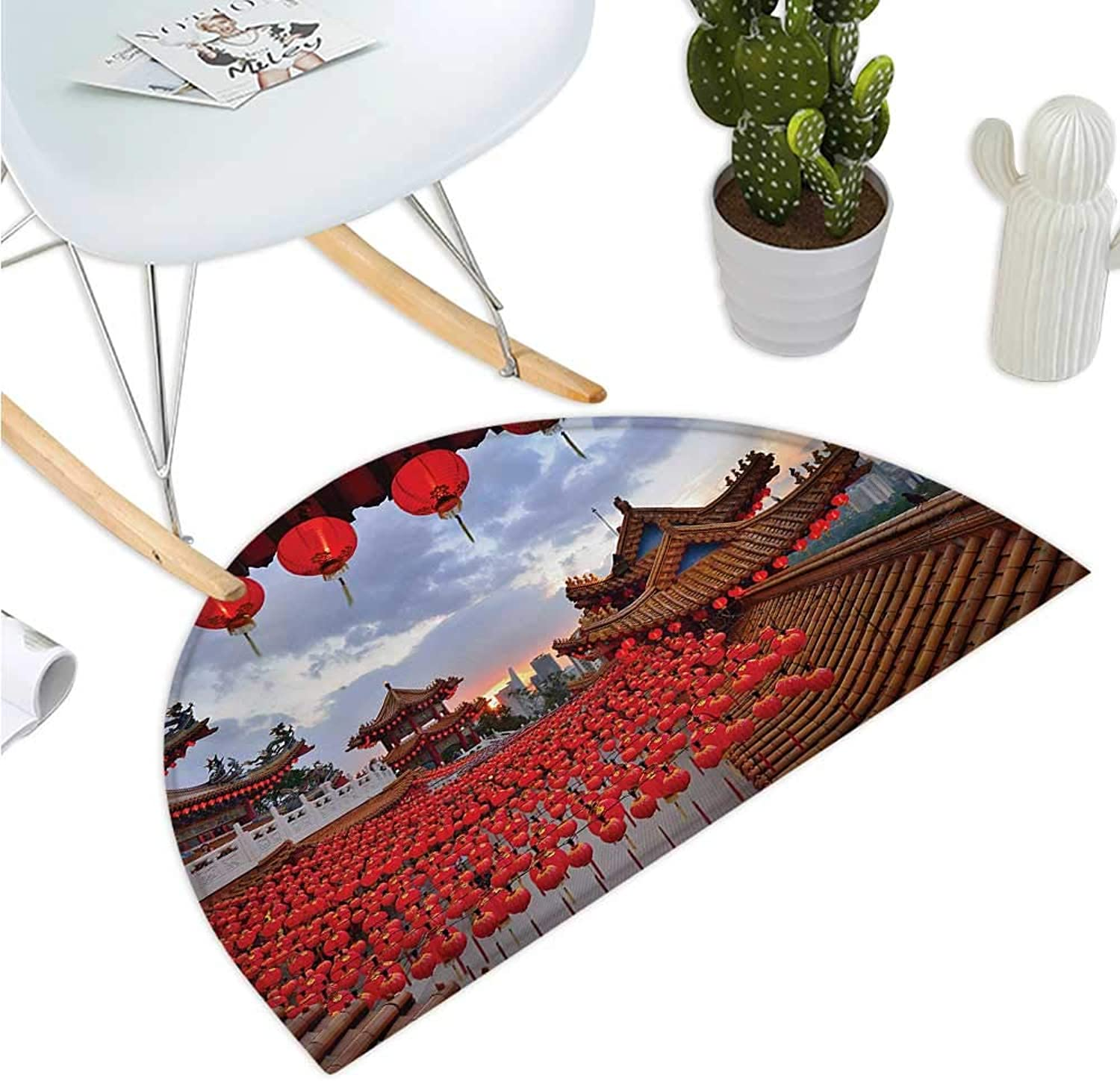 Lantern Semicircular Cushion Oriental Lanterns Over A Temple Sunset Structure for Religious Rituals Image Entry Door Mat H 39.3  xD 59  Red Lavander