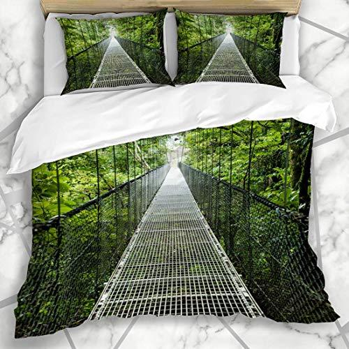 HARXISE Bettwäsche - Bettwäscheset Über Brücke durch Baldachin Costa Rica Rainforest Naturparks Bäume Abenteuer-Tour Entdecken Sie Design Mikrofaser weich dreiteilig200*200