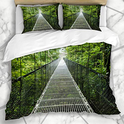 HARXISE Bettwäsche - Bettwäscheset Über Brücke durch Baldachin Costa Rica Rainforest Naturparks Bäume Abenteuer-Tour Entdecken Sie Design Mikrofaser weich dreiteilig135*200
