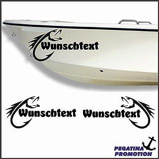 2 x Fisch + Bootsname nach Wunsch Aufkleber aus Hochleistungsfolie   viele Farben zur Auswahl   Angler Angelboot Sticker Boot Boote Beschriftung Bug Heck Fische Angeln Schlauchboot Nautic See Fischer Bootsbeschriftung Bootbeschriftung Fischen Sticker