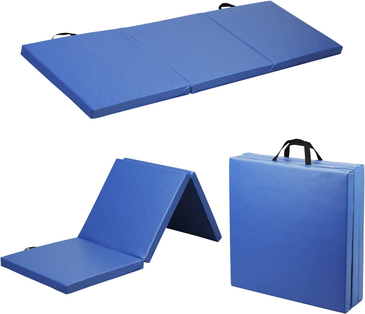 Folding Gymnastics Mat Thick Gym,Wesfital Tumbling Mat 6'x2'x2.1'' Foldable Exercise Mat with Carrying Handles Anti-Tear Tumbling Mats for Yoga Home Workout