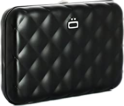 Ogon Quilted Button ID & Card Case Aluminium Wallet for Women | Rfid Safe (Black)