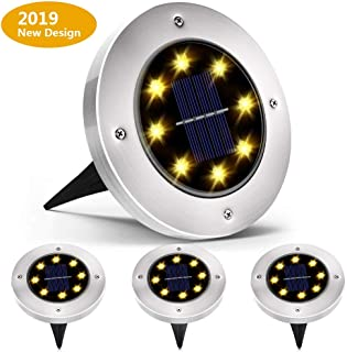 Biling Solar Disk Lights Outdoor, 8 LED Bulbs Solar Ground Lights Outdoor Waterproof for Garden Yard Patio Pathway Lawn Driveway - Warm White (4 Pack) (Renewed)