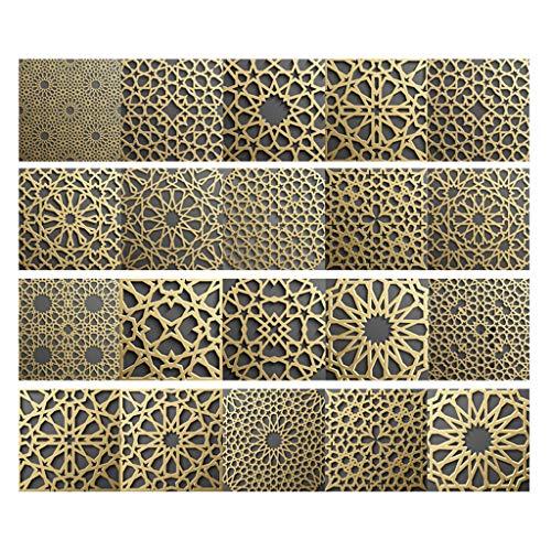 RUNWEI Baldosas de Parche, Impermeable fácil de rasgar Limpia y pegajoso marroquí decoración de la Pared del Estilo de Parche