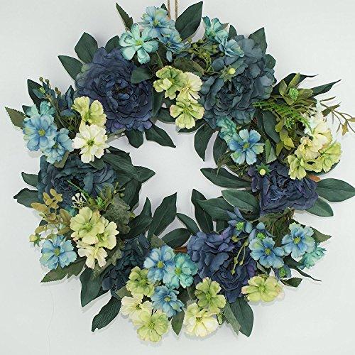 Porta Decor artificiale corona, seta vacanze decorazione ghirlanda di fiori artificiali per porta anteriore, 38,1cm
