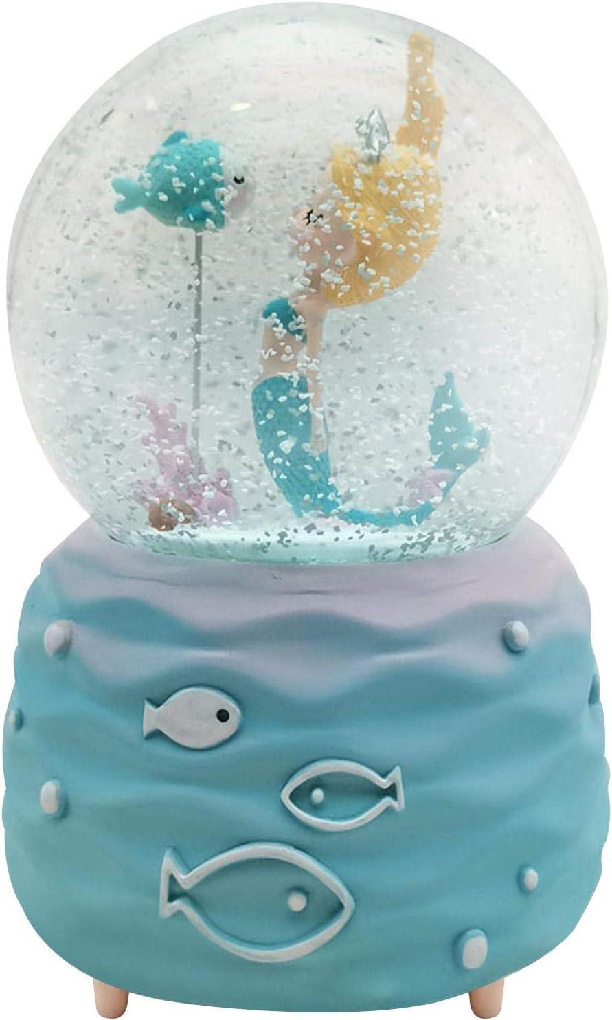 duhe189014 Meerjungfrau Spieluhr mit bunten Lichtern M/ädchen Kristallkugel Spieluhr Meerjungfrau Schneekugel Spieluhr Kinderspieluhr Spielzeug