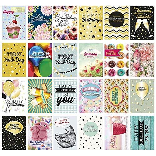 24 Postkarten zum Geburtstag | Geburtstagskarten-Set mit lustigen Motiven | Din A6 | 250 g/qm | 24 verschiedene Designs