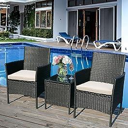 æ— Ensemble de meubles de jardin en rotin 3 pièces, 2 fauteuils et coussins + 1 table en verre trempé, noir