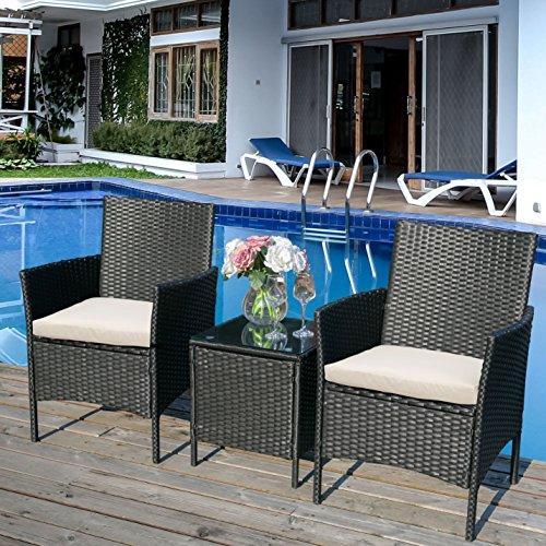æ— Juego de muebles de jardín de ratán, 3 piezas, juego de patio al aire libre, 2 sillones y cojín+1 mesa de cristal templado, color negro