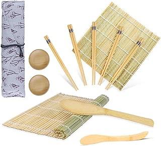 Sushi Making Kit,2 Bamboo Sushi Rolling Mat,5 Pairs of Chopsticks,1 Paddle,1 Spreader,2 Sauce Dish Gift,Beginner Sushi Kit