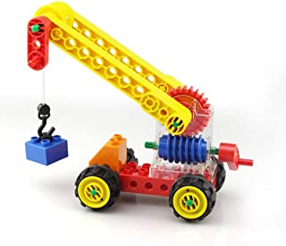 varibasu Crane Model Building Kits Large Particles Blocks Bricks Kids Toys Mechanical Gear Early Education Children DIY Puzzle Blocks Creative Colorful Mobile with Wheel and Hook Up for Boys and Girls