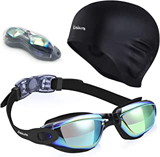 Uniswim Swimming Goggles Swim Cap Set, Professional Swim Goggles for Women Men No Leaking Anti Fog UV Protection Clear Wide View, Solid Silicone Swimming Cap for Adults Long Hair Waterproof Cover Ears