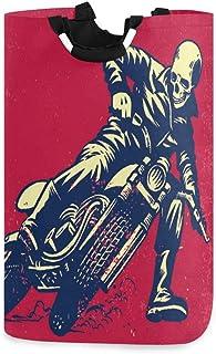N\A Panier à Linge Grand Panier à Linge Vintage Skull Bikecycle Pattern Pliable avec poignées Paniers pour paniers de Rang...