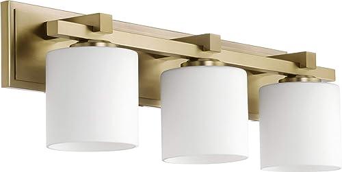Quorum International 3-LT Cylinder Vanity - Aged Brass - 5369-3-80