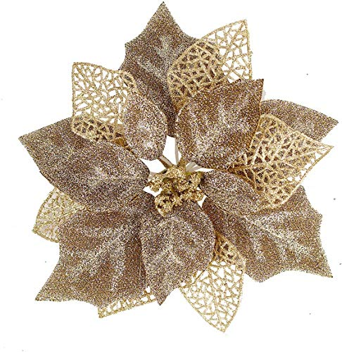 Blooming Paradise (Pack of 12) Glitter Poinsettia Christmas Tree Ornaments,Christmas Decorations Flower (Brown Gold)