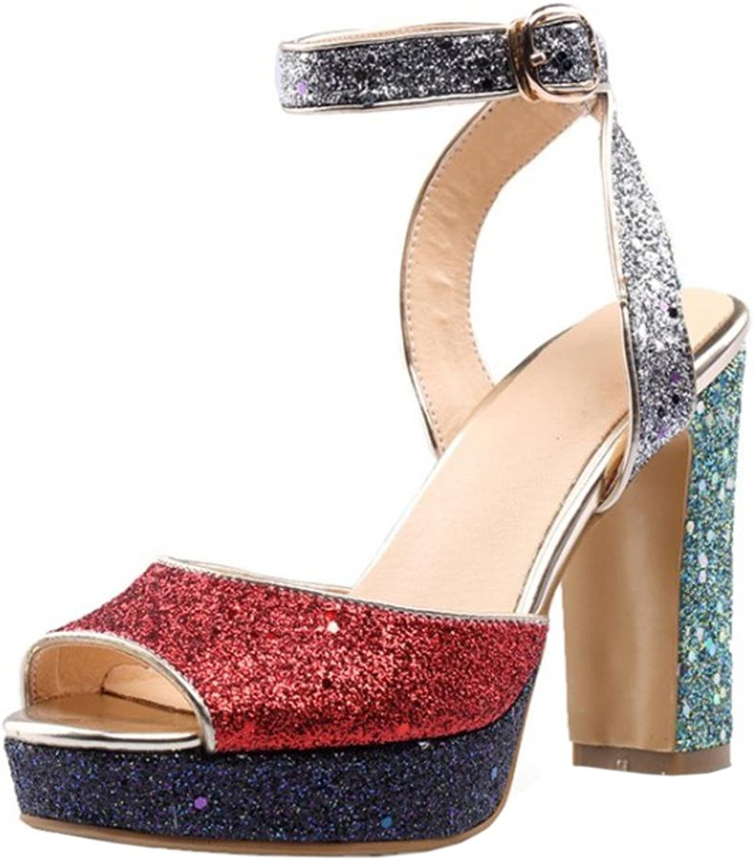 FANIMILA Women Sparkly Peep Toe Sandals shoes Heels