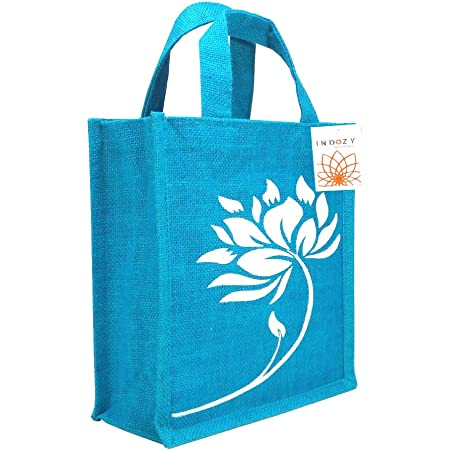 INDOZY Jute Bag for Lunch Tiffin & Gifting for Men, Women, Girl, Boy Kid, Office Daily Use Handbag with Zip & 2 Inside Pockets for Spoon/Fork/Tissue/Mobile & Water Bottle (Blue Turquoise Lotus)