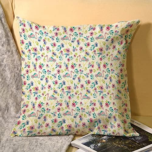 Best-design Funda de cojín decorativa de microfibra suave con diseño de flamencos de acuarela para sofá, dormitorio