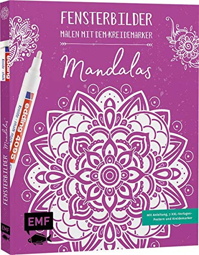 Vorlagenmappe Fensterbilder malen mit dem Kreidemarker – Mandalas: Mit Anleitung, 7 XXL-Vorlagen-Postern und original edding 4090 Kreidemarker (weiß) – über 30 traumhafte Motive