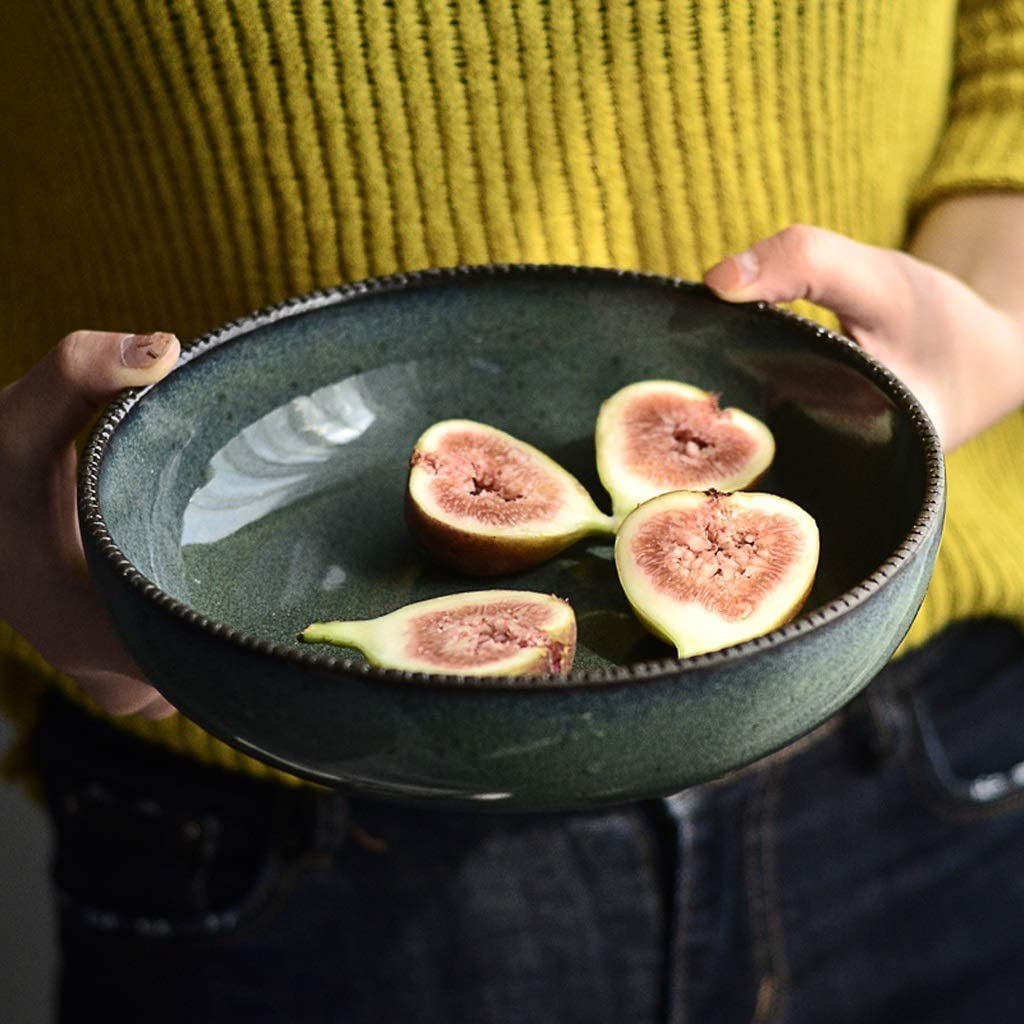 ZUQIEE 8 Inch Fruit Max 60% OFF Salad Stoneware Selling rankings Green Bowl Ceramic Creative