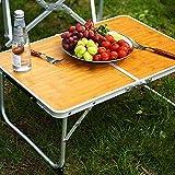 Mini Outdoor Faltbarer Laptop Portable Mini Picknicktisch & Ultra Leichte Falten Speicherplatz Bambus Holzmaserung Grilltisch,1X Klapptisch im Freien+1X Aufbewahrungstasche