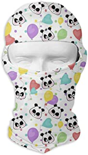 Comfortable Cute Panda Bears Art Headcover Soft Balaclava Headwear Fit Full Hood Face Mask White