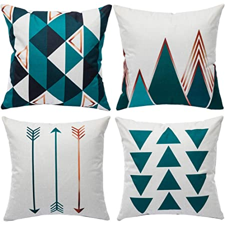 WLNUI Set of 4 Pillow Covers,18x18 Pillow Cover Green Modern Simple Geometric Style Linen Burlap Square Throw Pillow Covers Cushion Case