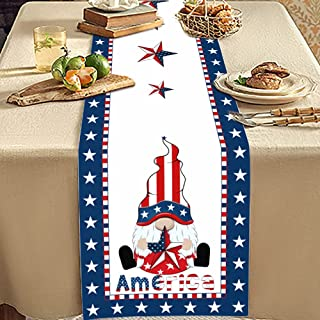 مفرش طاولة رينباكوس ليوم الاستقلال القزم الأحمر القزم والأزرق والأبيض لغرفة الطعام والمطبخ وديكور الولائم، 33 × 177 سم