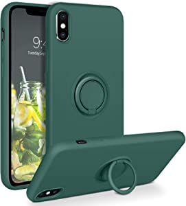 DOMAVER iPhone Xs Max Case 360° Ring Holder Kickstand (Support Car Mount) Silicone Soft Rubber Microfiber Lining Cushion Protective Cover for iPhone Xs Max 6.5
