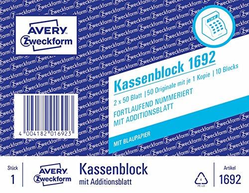 AVERY Zweckform 1692 Kassenblock (A6, 10-er Pack, 2 x 50 Blatt)