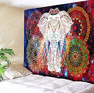 Deco Bedroom Decoration Elephant Tapestry Galaxy Starry Indian Mandala Wall Hanging Retro Hippie Tapestry Fabric Boho Home...