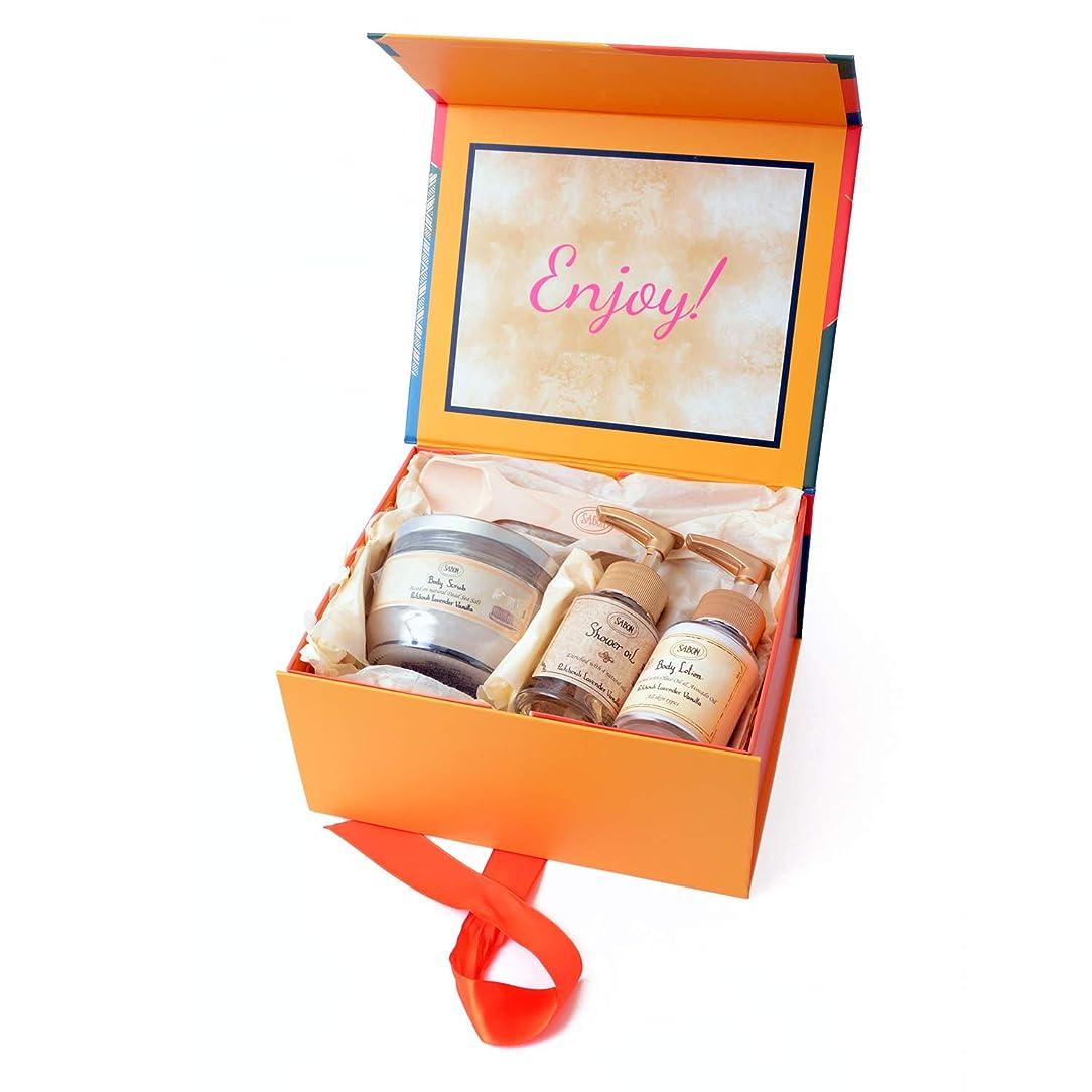 フォアマン休眠湾[サボン] SABON Gift Set Patchouli Lavender Vanilla ギフトセット ボディスクラブ ボディローション シャワーオイル ショップバッグ付 (セット)