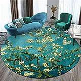 Alfombra redonda verde moderna con flores, estilo floral, alfombra suave, para sala de estar, dormitorio, mesita de noche, guardarropa, silla, alfombra, habitación de niños, elementos orientales-120