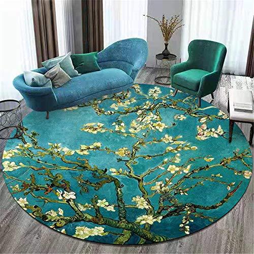 Alfombra redonda verde moderna con flores, estilo floral, alfombra suave, para sala de estar, dormitorio, mesita de noche, guardarropa, silla, alfombra, habitación de niños, elementos orientales-160