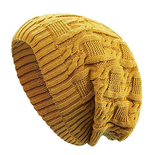 Kuyou Long Slouch Beanie Damen Warm Winter Strickmütze (Gelb)