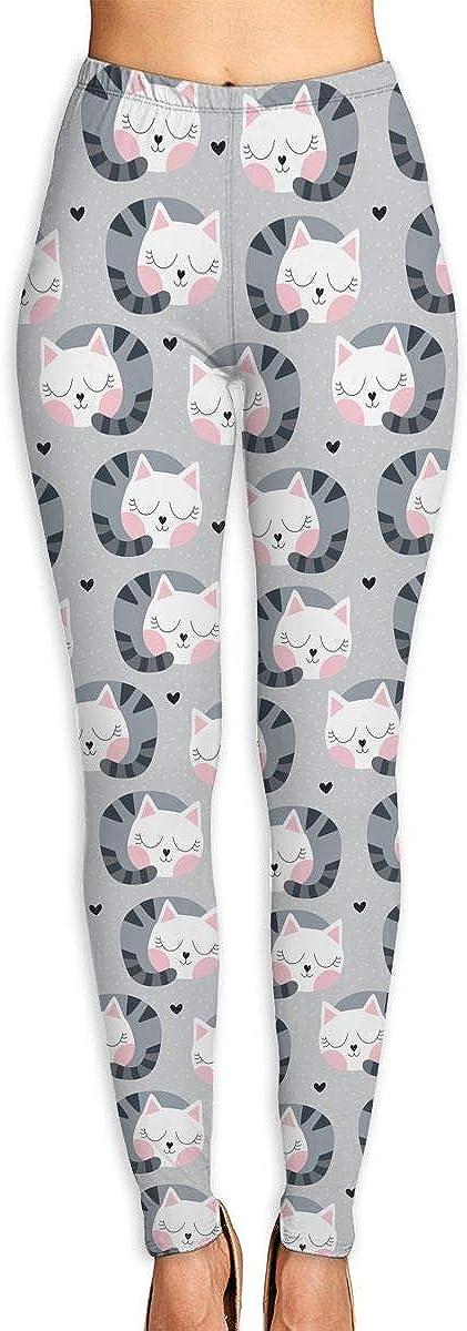 Sale item Women's Cute Sleeping Cat Pattern Yoga Max 51% OFF Leggings Pants Casua Long