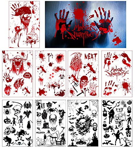 Pegatinas de Terror de Halloween - simyron 107 pcs Halloween Pegatinas,Sangrientas con Huellas de Pies Decoración Halloween rojo Efecto Realista Sangre Huellas Dactilares (9 hojas)
