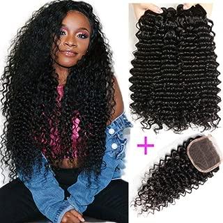 100% Unprocessed Brazilian Virgin Hair 3 Bundles with Closure 9A Grade 100% Brazilian Deep Wave Hair with 4x4 Free Part Closure Virgin Human Hair Bundles