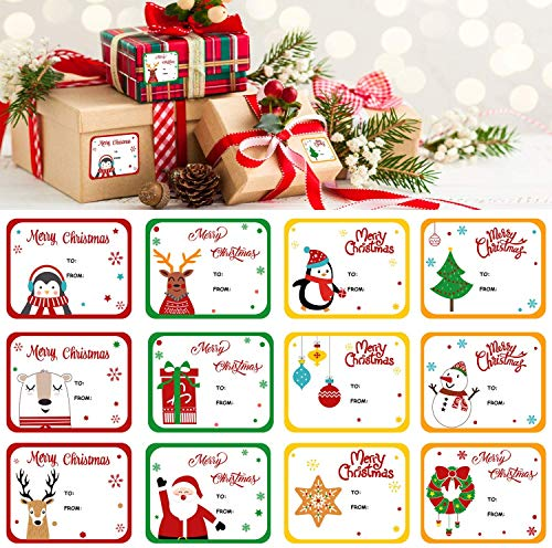 LOKIPA Christmas Self Adhesive Gift Tag Stickers, 120 Pieces Xmas Present Name Labels for Gifts
